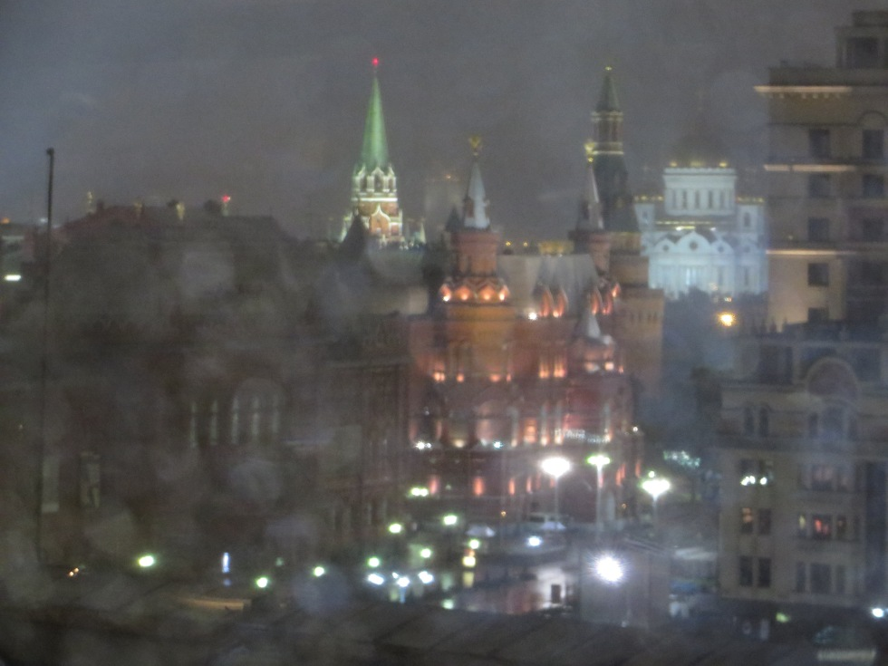 First night in Moscow, a drizzling, glimmering night -- adventures to come...