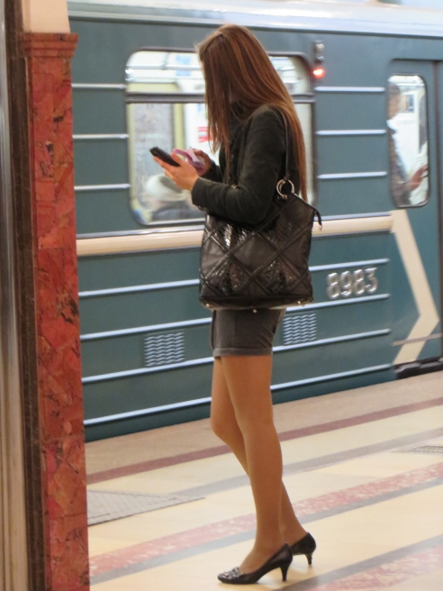 Mingling with locals in the Moscow metro.