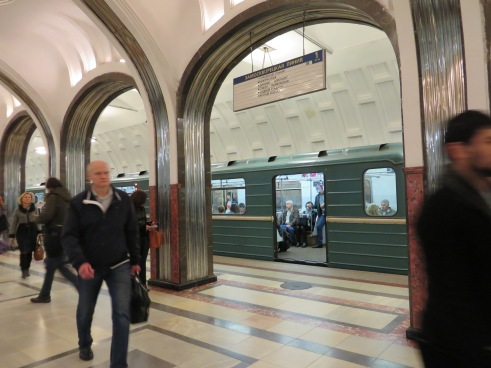 Moscow underground... Bright inside the metro.