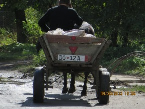 A horse carriage on a dirt road in Dubno: a common sight.