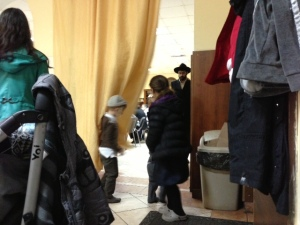 We sneak a photo in the chassidic Pinsk synagogue...