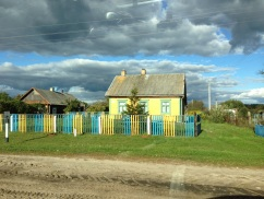 "Village and farm houses -- ""dashes"" -- on the way from Pinsk to Stolin."